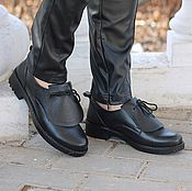 Обувь ручной работы handmade. Livemaster - original item Boots moccasin leather with uneven edge Dark. Handmade.