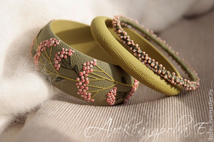 Set of green bracelets with pink berries, Bracelet set, Barnaul,  Фото №1