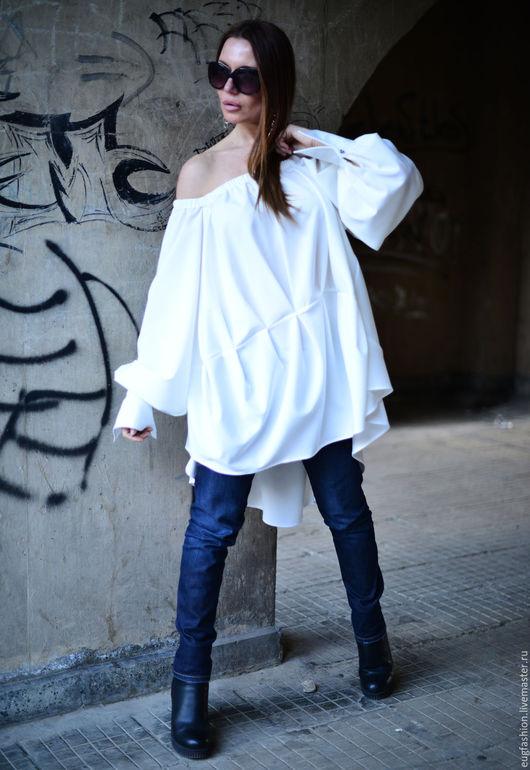 Туника, Белая туника, Модная туника, Туника с длинным рукавом, Нарядная блузка, Асимметричная блузка, Модная одежда ЕУГ