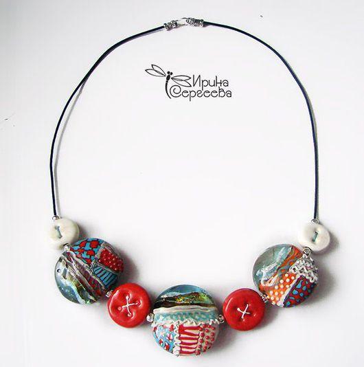 Колье, бусы ручной работы. Ярмарка Мастеров - ручная работа. Купить Лоскутное ожерелье. Handmade. Авторские бусины