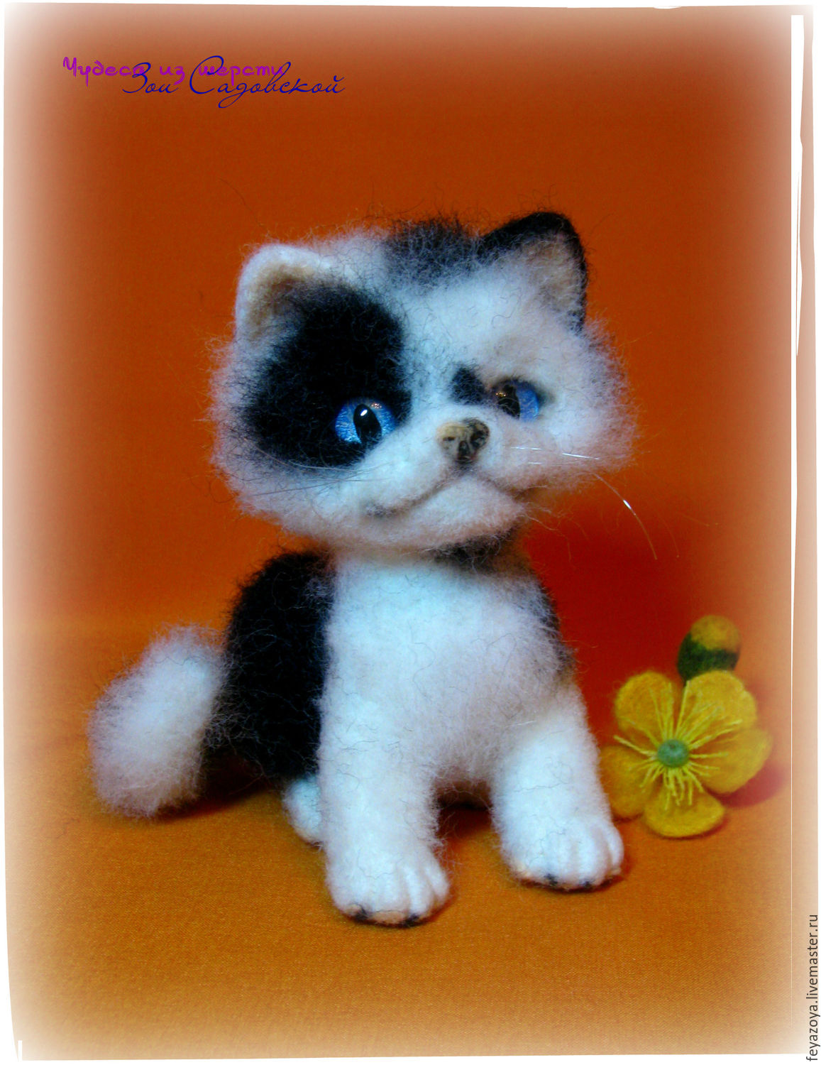 Kitten kitty figurine made of wool – shop online on Livemaster