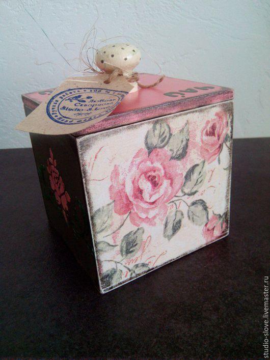 """Кухня ручной работы. Ярмарка Мастеров - ручная работа. Купить короб для чая """"чайная роза"""". Handmade. Розовый, ручная работа"""