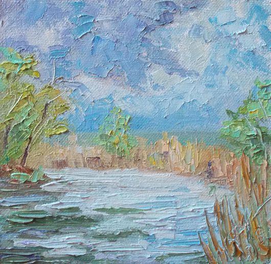 """Пейзаж ручной работы. Ярмарка Мастеров - ручная работа. Купить Картина маслом Этюд """"После дождя"""". Handmade. Этюд, река"""