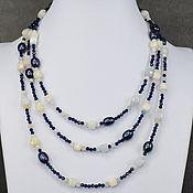 Работы для детей, handmade. Livemaster - original item Elegant long beads beryl pearls peacock and blue spinel. Handmade.
