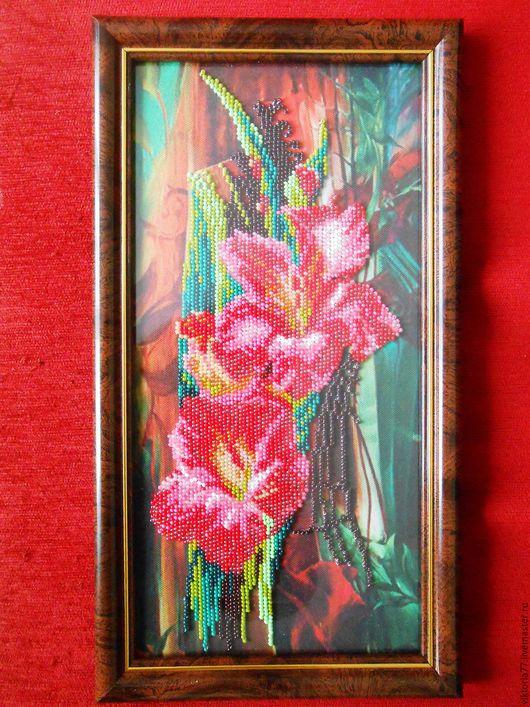 Картины цветов ручной работы. Ярмарка Мастеров - ручная работа. Купить Цветы гладиолусы. Картина вышитая бисером.. Handmade. Коричневый