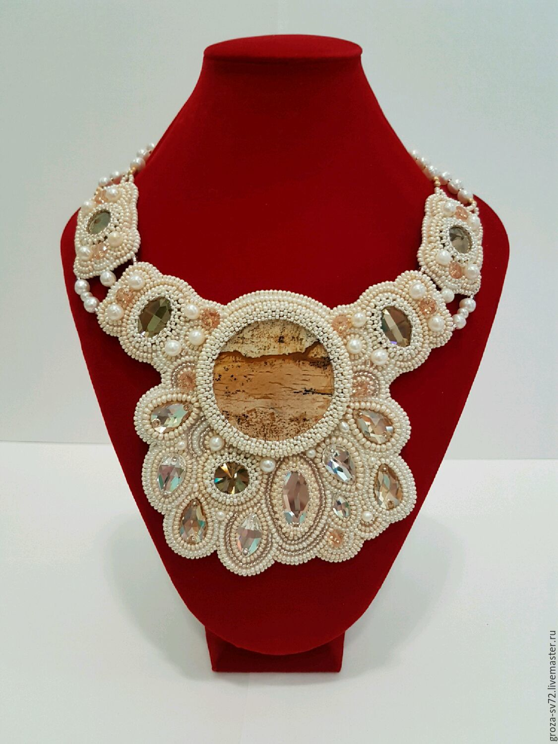Necklace 'caramel Cream' embroidered with beads, Necklace, Moscow,  Фото №1