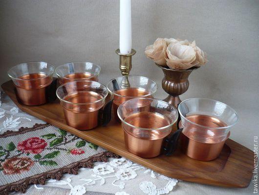 Винтажная посуда. Ярмарка Мастеров - ручная работа. Купить Чашки+поднос,старинные,антикварные,винтаж,медь/стекло/дерево, Германия. Handmade. Чашки, винтажные