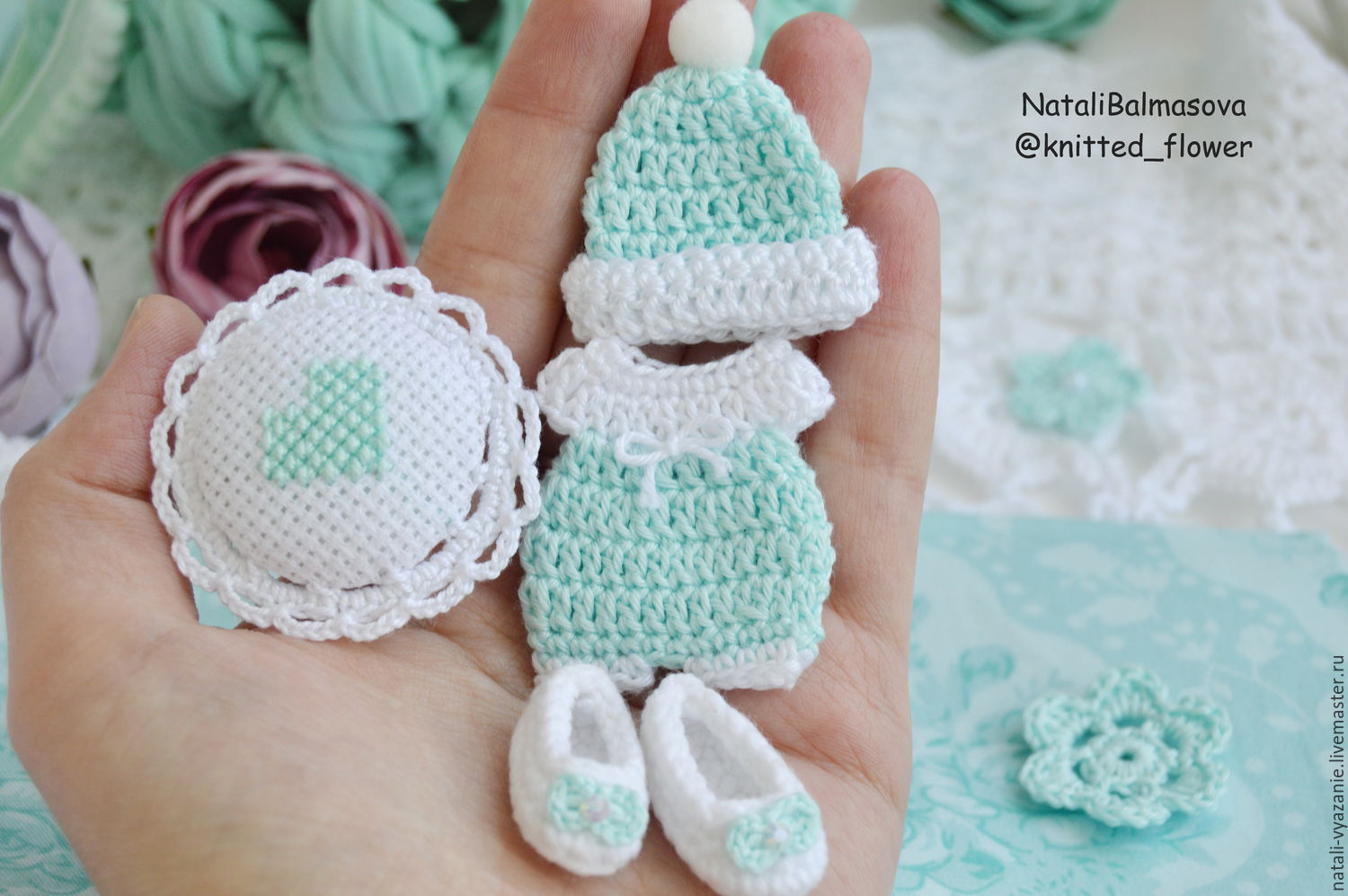 Cards & Scrapbooking handmade. Livemaster - handmade. Buy Set Baby mint in stock.Shabby, miniature, flowers knitted
