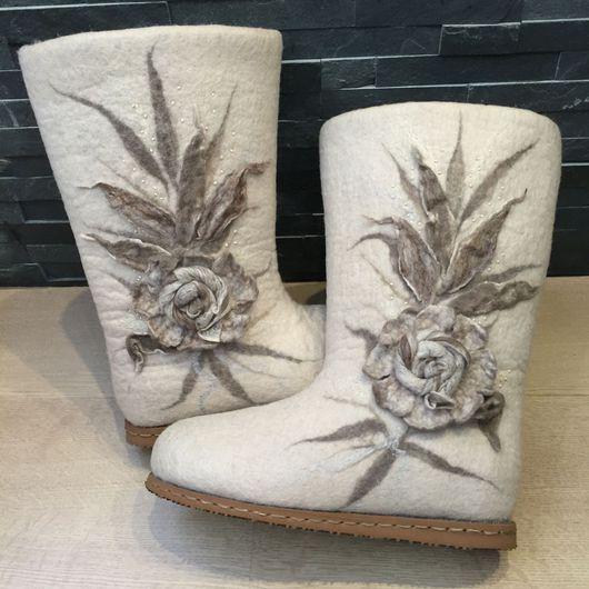 """Обувь ручной работы. Ярмарка Мастеров - ручная работа. Купить Валенки """"Капучино""""). Handmade. Зимняя обувь, теплая одежда"""