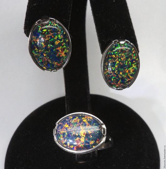 Комплекты украшений ручной работы. Ярмарка Мастеров - ручная работа. Купить Комплект(или раздельно)из серебра 925 пробы с чёрными опалами. Handmade.