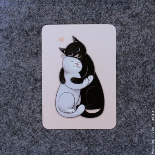 """Открытки на все случаи жизни ручной работы. Ярмарка Мастеров - ручная работа. Купить открытка """"коти"""". Handmade. Черный кот, Кошки"""