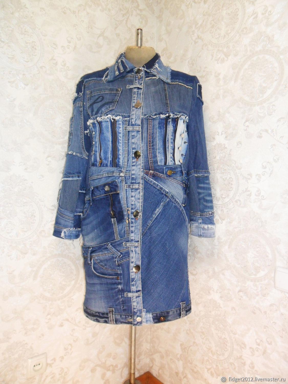 Denim women's coat Boho hipster long jacket Fashionable jeans, Coats, Bakhmut,  Фото №1
