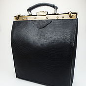 Сумки и аксессуары handmade. Livemaster - original item Handbag leather Ossag Black, Office bag, Leather bag black. Handmade.