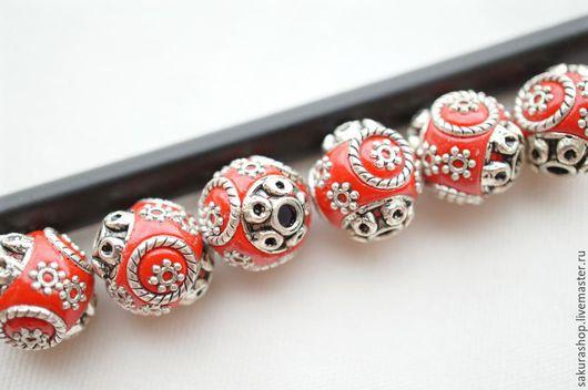Для украшений ручной работы. Ярмарка Мастеров - ручная работа. Купить Бусина гарем красная 15 мм. Handmade.