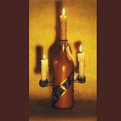 """Для дома и интерьера ручной работы. Ярмарка Мастеров - ручная работа Подсвечник """"Бутылка"""". Handmade."""