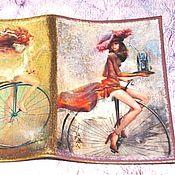 Канцелярские товары ручной работы. Ярмарка Мастеров - ручная работа Кожаная обложка на паспорт Велосипедистки 3. Handmade.