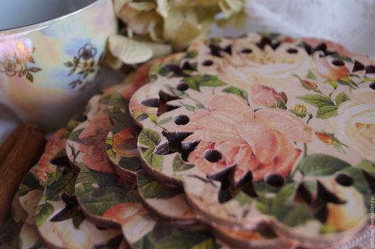 """Кухня ручной работы. Ярмарка Мастеров - ручная работа. Купить Набор подставок под чашки """"Розовый сад"""". Handmade. Кремовый"""