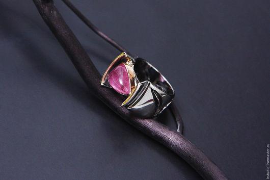 Кольца ручной работы. Ярмарка Мастеров - ручная работа. Купить Серебряное кольцо с рубеллитом. Handmade. Комбинированный, рубелит, черненое кольцо