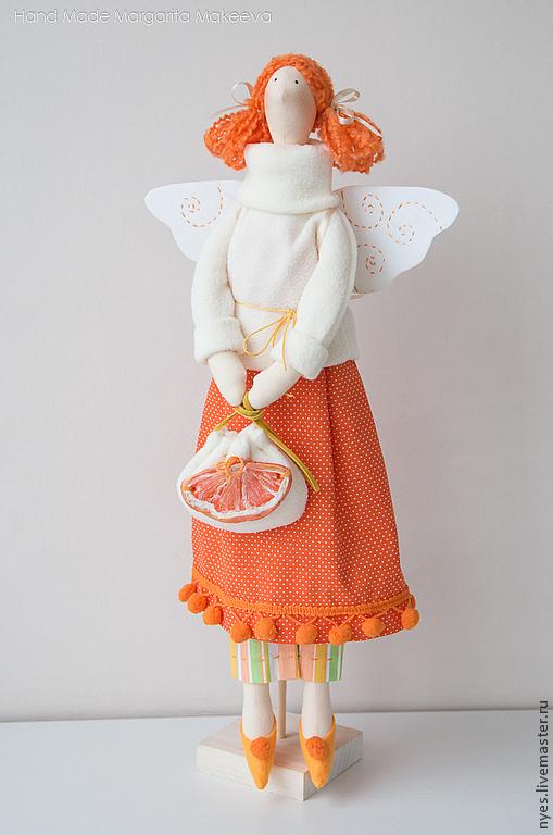 Куклы Тильды ручной работы. Ярмарка Мастеров - ручная работа. Купить Тильда Мандариновая фея. Handmade. Оранжевый, мандарин, флис