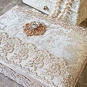 Шкатулки ручной работы. Ярмарка Мастеров - ручная работа Бархатная шкатулочка для украшений в кремовом цвете. Handmade.