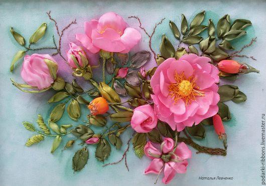 Картины цветов ручной работы. Ярмарка Мастеров - ручная работа. Купить Вышивка лентами. Розовый шиповник. Handmade. Розовый