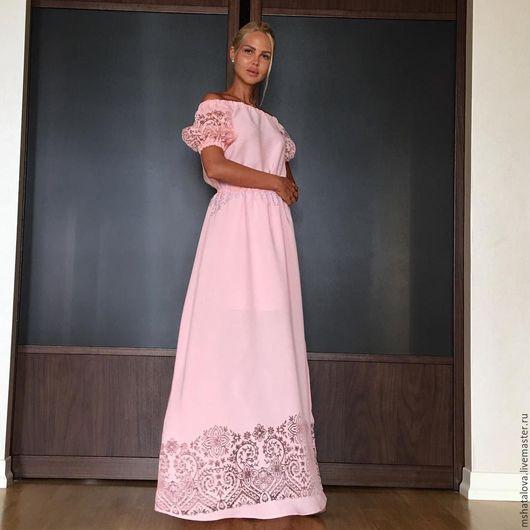 Платья ручной работы. Ярмарка Мастеров - ручная работа. Купить Платье персиково-розовое. Handmade. Розовый, Розовое платье
