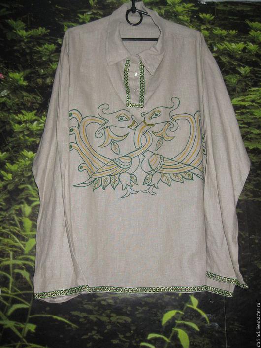 """Для мужчин, ручной работы. Ярмарка Мастеров - ручная работа. Купить Рубаха """"Птицы Гамаюн"""". Handmade. Комбинированный, рубашка мужская"""
