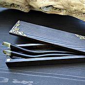 Украшения handmade. Livemaster - original item Wooden hair pins with amber. Handmade.