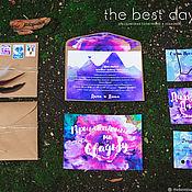 """Приглашения ручной работы. Ярмарка Мастеров - ручная работа Свадебные приглашения """"Фиолетовый бохо"""". Handmade."""