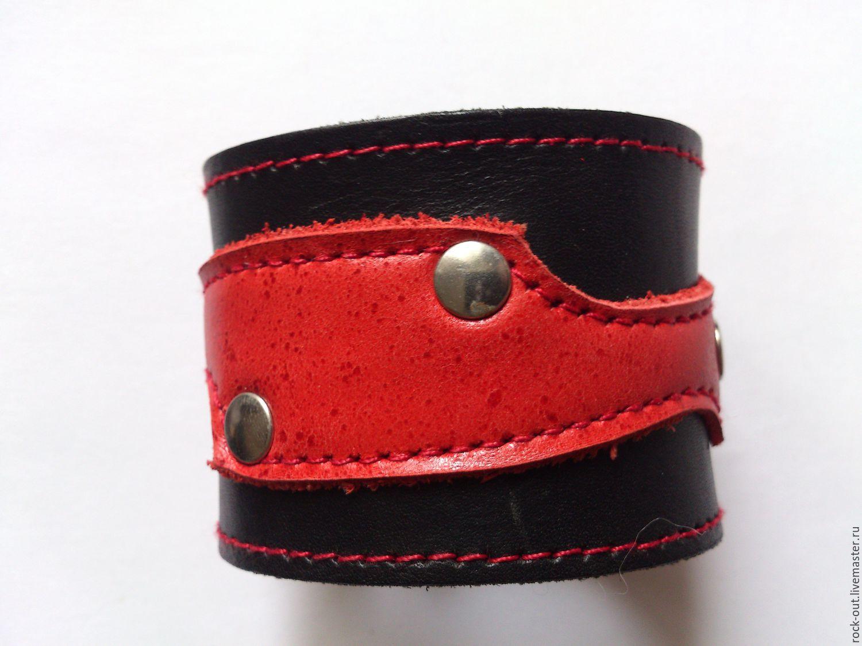 Кожаный широкий браслет