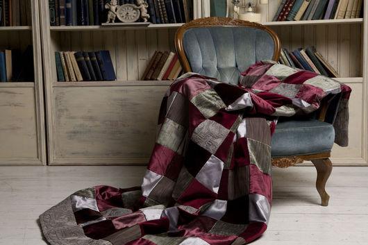 """Текстиль, ковры ручной работы. Ярмарка Мастеров - ручная работа. Купить №1 """" Бургундское"""" Покрывало в технике пэчворк. Handmade."""