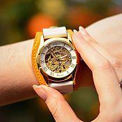 ручной работы. Ярмарка Мастеров - ручная работа Наручные механические часы Citrus на широком кожаном браслете. Handmade.