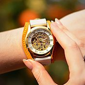 Watches handmade. Livemaster - original item Citrus mechanical wrist watch on wide leather bracelet. Handmade.