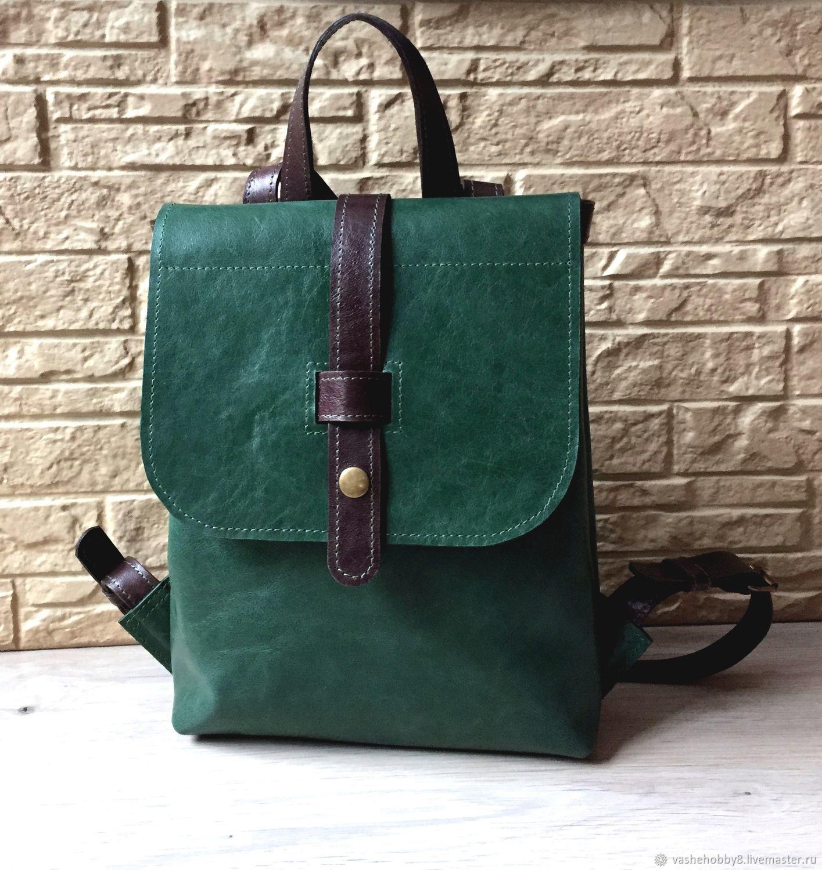 6d4500524da8 Рюкзаки ручной работы. Ярмарка Мастеров - ручная работа. Купить Рюкзак из  натуральной кожи зеленого ...