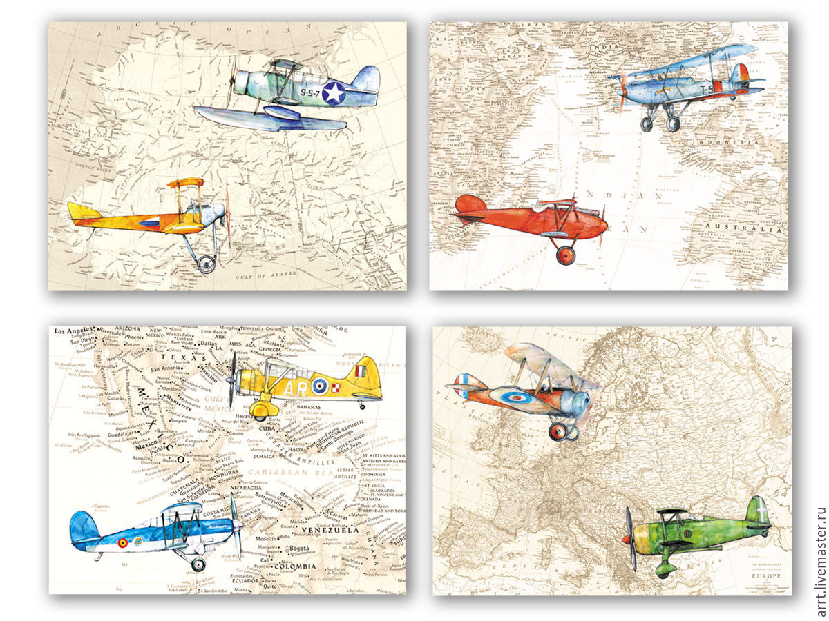 Planes and world map set of posters for children 4 pieces shop nursery handmade livemaster handmade buy planes and world map set of posters for gumiabroncs Gallery