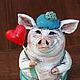 Статуэтки ручной работы. Ярмарка Мастеров - ручная работа. Купить Влюблённый Хрюня. Handmade. Разноцветный, авторская ручная работа