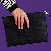 Сумки и аксессуары handmade. Livemaster - original item Black Real Leather Python Pattern Envelope Clutch With Chain. Handmade.