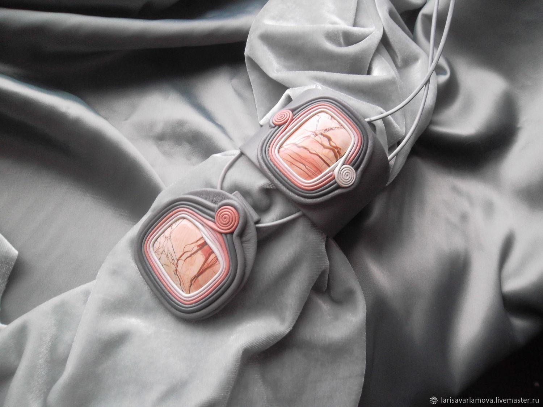 """Комплект """"Розовая яшма"""". Украшение из кожи и камня, Jewelry Sets, Velikiy Novgorod,  Фото №1"""
