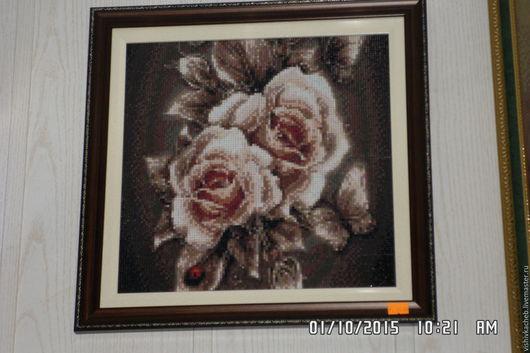 """Картины цветов ручной работы. Ярмарка Мастеров - ручная работа. Купить картина стразами """"карамельная роза"""". Handmade. Коричневый"""