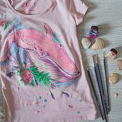 Одежда handmade. Livemaster - original item t-shirt Pink sperm whale. Handmade.
