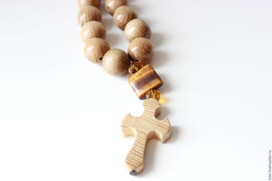 Четки ручной работы. Ярмарка Мастеров - ручная работа. Купить Четки деревянные из бусин ясеня с крестом (CH0034). Handmade. Коричневый