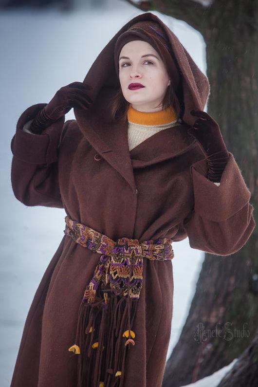 """Верхняя одежда ручной работы. Ярмарка Мастеров - ручная работа. Купить Пальто из войлока с капюшоном """"Шоколад"""" 16002. Handmade. Коричневый"""