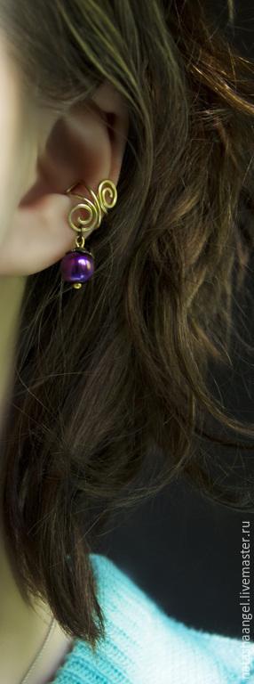 """Каффы ручной работы. Ярмарка Мастеров - ручная работа. Купить Кафф """"Фиолетовый жемчуг"""" (фиолетовые серьги, клипсы золото с жемчугом). Handmade."""