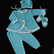 Работы для детей, ручной работы. Ярмарка Мастеров - ручная работа Комплект для новорожденных Бирюза. Handmade.