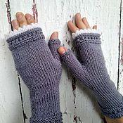 Аксессуары handmade. Livemaster - original item Mitts: Knitted mitts with teeth gray-lilac. Handmade.