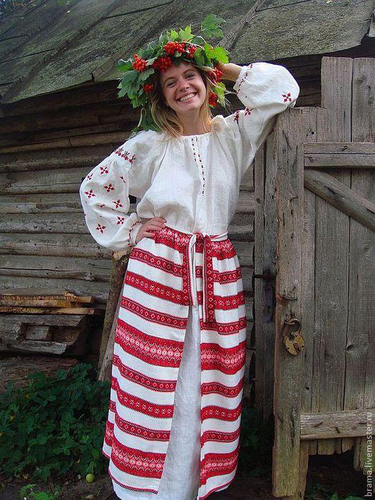 """Этническая одежда ручной работы. Ярмарка Мастеров - ручная работа. Купить Платье-рубаха льняное с распашной панёвой """"Августина"""". Handmade."""