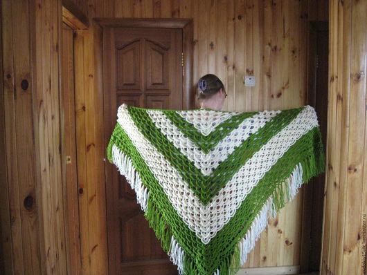 Большие размеры ручной работы. Ярмарка Мастеров - ручная работа. Купить шаль. Handmade. Зеленый, шаль вязаная