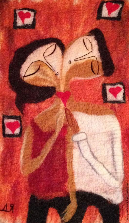 Картина из шерсти ручной работы.Ярмарка Мастеров-ручная работа. Любовь.Купить картина Мой-Моя .Мой-Моя.Коралловый. Handmade.