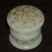 Винтаж handmade. Livemaster - original item BOX JAR FOR CREAM. Colored MILK glass. The end of the 19th century. Handmade.