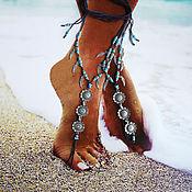 """Украшения ручной работы. Ярмарка Мастеров - ручная работа Украшения для ног """"Морские глубины"""", браслет на ногу.Пляжное украшение. Handmade."""